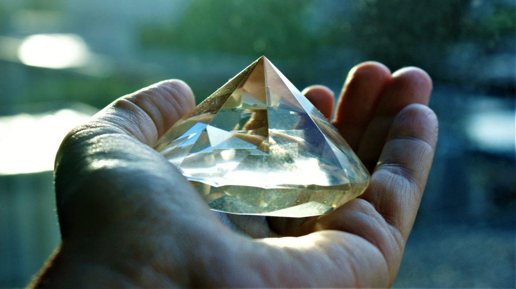 hand, diamond, glass
